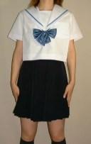 SH03衿白色、水色1本線半袖セーラー服