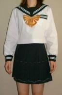 SN13衿・カフス・Pグリーン白2本線胸当付夏長袖セーラー服