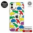 送料無料 メール便 iPhone 12 mini 5.4 Dparks ソフトクリアケース カラフルザウルス アイホン……