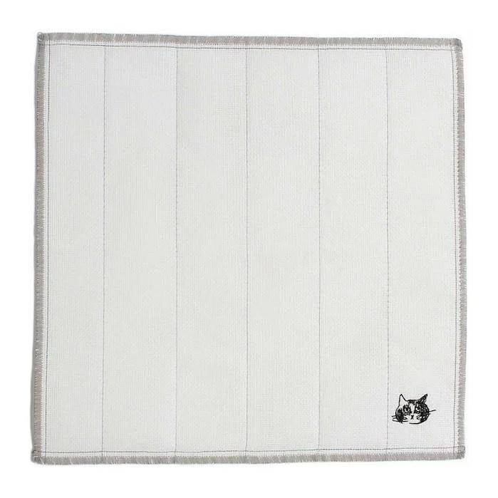 松尾ミユキ 蚊帳(かや)生地ふきんねこ刺繍《グレー》