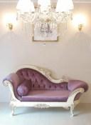輸入家具 オーダー家具 プリンセス家具 カウチソファ W170cm パープルのベルベット アンティークホワイト&ゴールド色