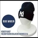【即納】BLUE MARLIN(ブルーマーリン) Knit Cap @NEW YORK BLACK YANKEES NAVY[ABBM1012] ニット帽/帽子/ワッチ/野球 ニットキャップ【..