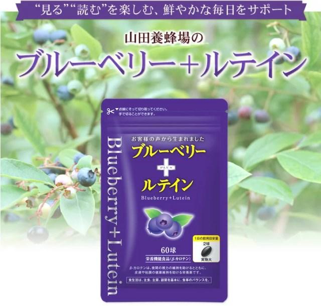 【山田養蜂場】ブルーベリー+ルテイン 60球/袋入