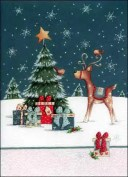 グリーティングカード 【クリスマス】 トナカイと小鳥【封筒付き/白】【封筒サイズ132×182mm】【中面/「Merry Christmas!」の文字あり..