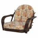 回転座椅子 (イス チェア) /籐椅子 【座面高16cm】 肘付き 花柄 ダークブラウン 茶