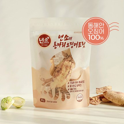 넌소의 통마리 트릿 고양이 동결 건조 간식 오징어 30g, 1개