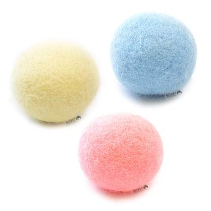 리스펫 고양이 소리나는 양모볼 3종 세트, 옐로우, 블루, 핑크, 1세트
