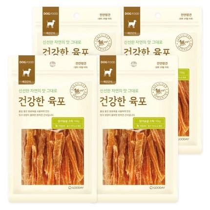굿데이 건강한육포 강아지간식, 닭가슴살스틱 맛, 4개입