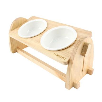 도그아이 반려동물 각도조절 높이조절 우드 식기 + 도자기 그릇 2p 세트, 혼합색상, 1세트
