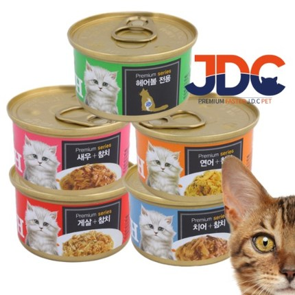 프리미엄 골드 런치 캔 길고양이 24개 냥밥 주식 헤어볼, 연어+참치 24개