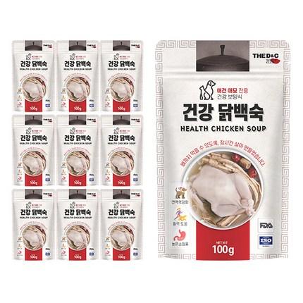 더디앤씨 건강 강아지간식 파우치 100g, 닭백숙, 10개