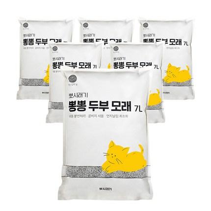 뽀시래기 응고형 고양이 뽕뽕 두부 모래 숯, 7L, 6개