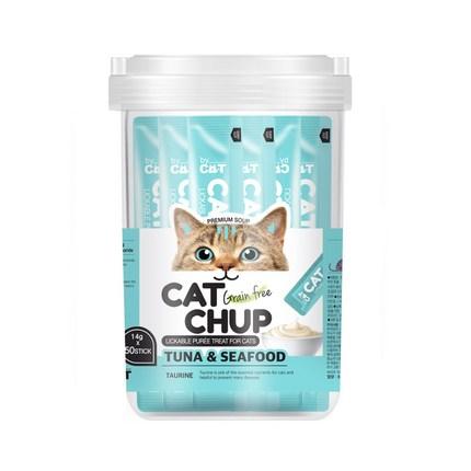 캣찹 고양이 간식 참치, 참치 + 해산물 혼합맛, 50개