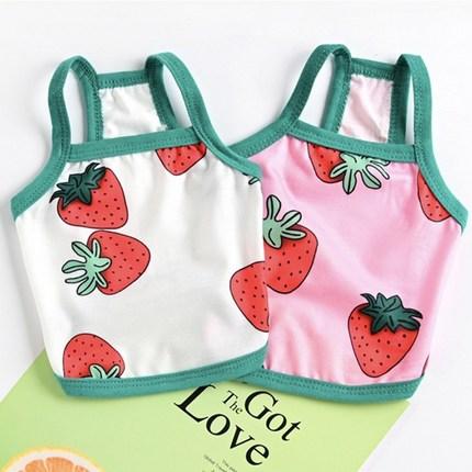 코코스튜디오 강아지옷 딸기 무늬 나시 티셔츠, 코코 딸기 나시-핑크
