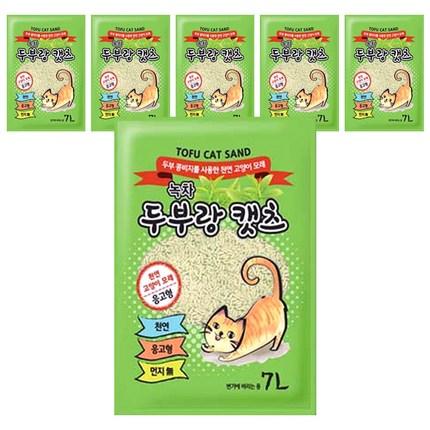 두부랑캣츠 응고형 고양이 모래 녹차향, 7L, 6개