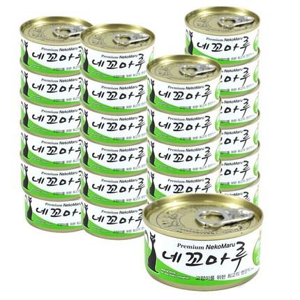 네꼬마루 고양이캔 80g, 참치+게살, 24개입