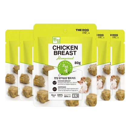 더독 오븐애 구운 한입 강아지 간식 80g, 닭가슴살 햄프시드, 5개