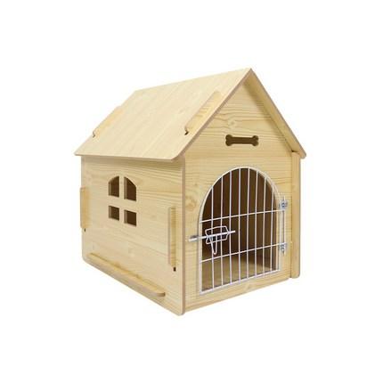 애구애구 강아지집 원목하우스 애견 저택 나무지붕, 나만의 저택 나무색 M