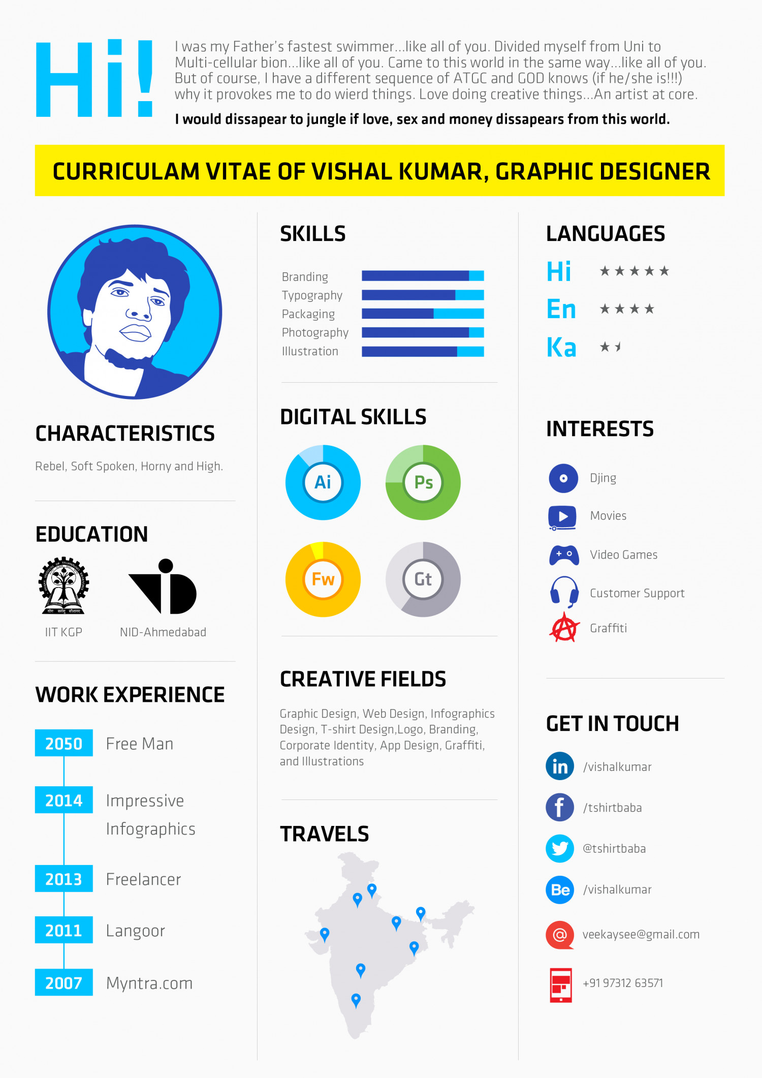 Infographic Resumes Infographic Resume Of Vishal Kumar Visual Ly