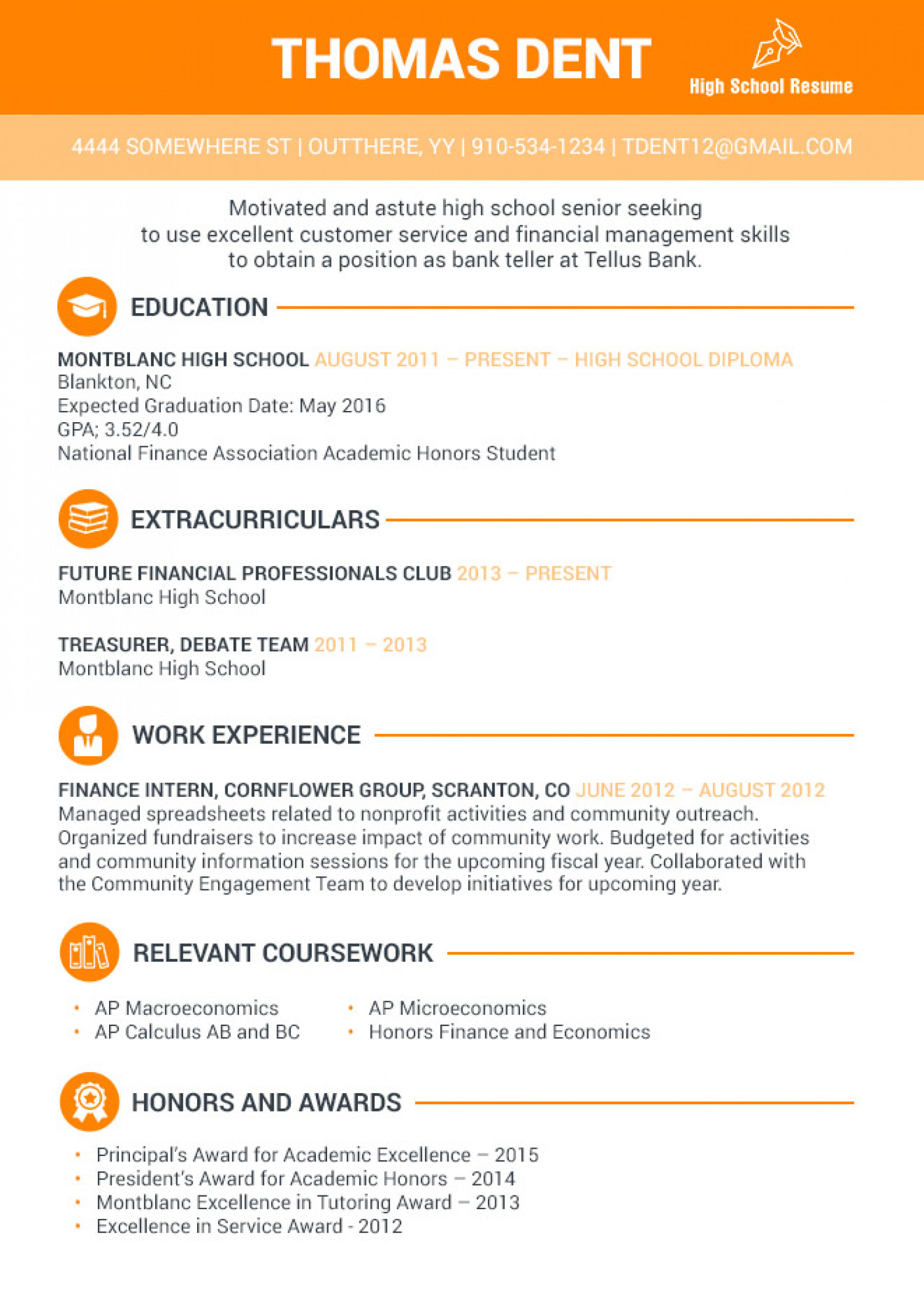 Resume High School Example Resume Examples For High School Student Visual Ly
