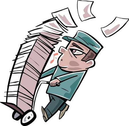 Stock Illustration  Man pushing trolley full of papers