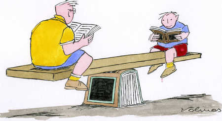 Boys sitting on see-saw reading books