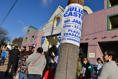 A large crowd waits in line at the Guadalupe Plaza in the San Antonio to hear Julián Castro, former Mayor of San Antonio and secretary of House and Urban Development under Obama, on January 12, 2019. Castro announced that he is a candidate for the 2020 Democratic presidential nomination.