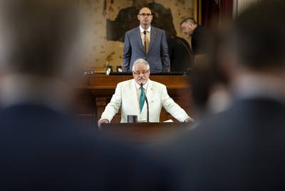 State Rep. Dan Huberty, R-Houston, has tabled House Joint Resolution 3 and the accompanying House Bill 4621, which would ask voters to increase the state sales tax by one penny to buy down school district property taxes.