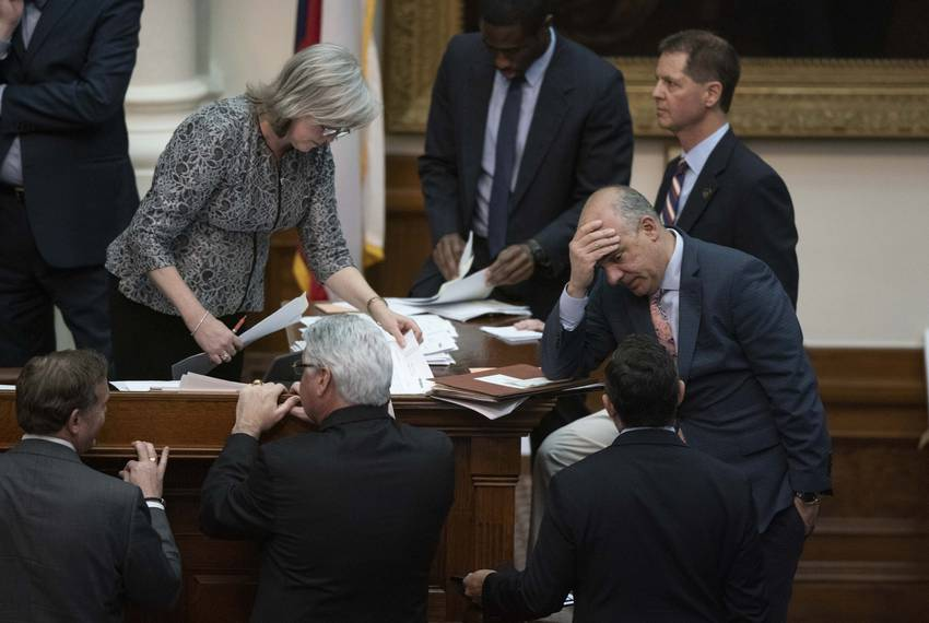 Debate on HB1, the House state budget bill, continues into its 12th hour as State Rep. Chris Turner, D-Dallas, shows the strain of a long night. March 27, 2019.