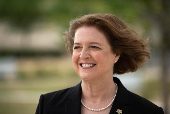 Texas A&M University President M. Katherine Banks poses for a portrait outside of the Zachry Engineering Education Complex o…