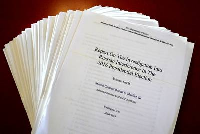 The Mueller Report on the Investigation into Russian Interference in the 2016 Presidential Election is pictured in New York, New York, U.S., April 18, 2019.