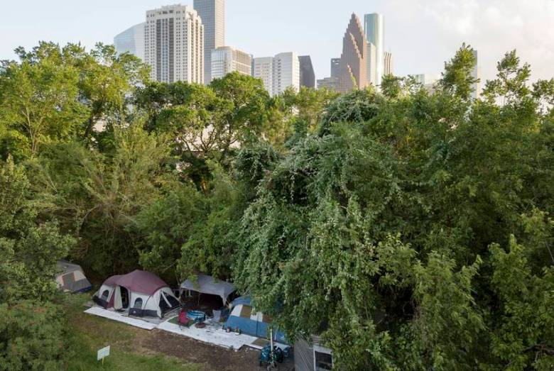 A large homeless camp near downtown Houston.