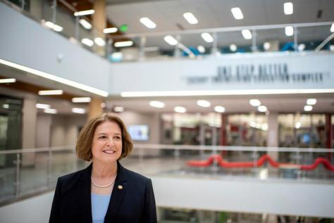 Texas A&M University President M. Katherine Banks at the Zachry Engineering Education Complex in College Station on March 30…