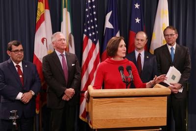 State Sen. Lois Kolkhorst, R-Brenham, speaks at a press conference discussing funding for the Texas Parks and Wildlife Department, at the Capitol on Jan. 30, 2019. Behind Kolkhorst, from left to right: state Sen. Pete Flores, R-Pleasanton, Joseph Fitzsimons, former chairman of the Texas Parks and Wildlife Commission, state Rep. John Cyrier, R-Lockhart, and current Texas Parks and Wildlife Commission Chairman Ralph Duggins.