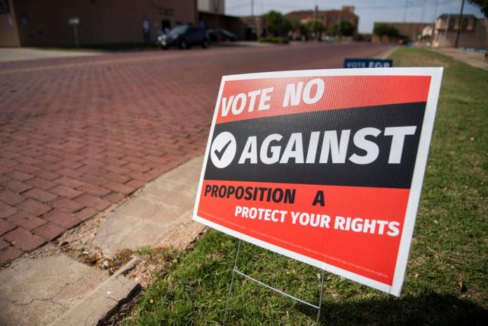 A sign opposing a proposed city ordinance that would ban abortions inside Lubbock city limits outside of an early voting loc…