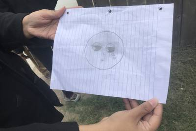 "A 10-year-old girl's sketch of herself after her father was deported. ""I felt like I was missing something, and that was part of my heart,"