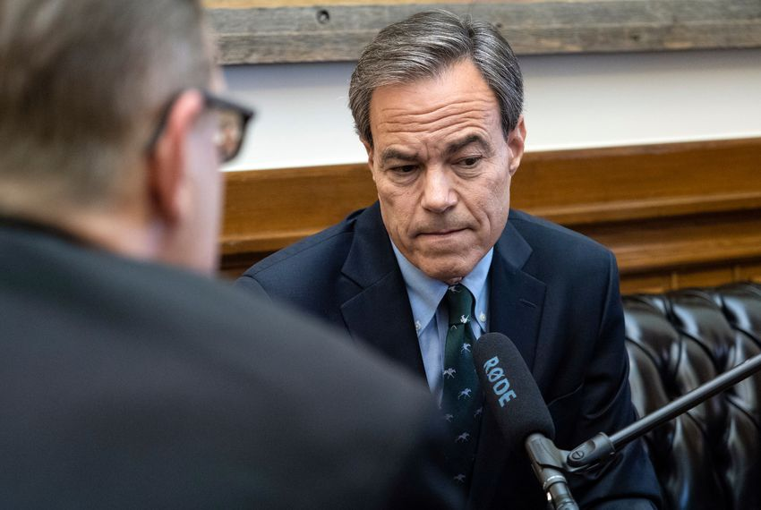Texas Tribune CEO Evan Smith records an interview for a Texas Tribune podcast with Texas House Speaker Joe Straus, in the Speaker's office at the State Capitol in Austin on Wednesday, Nov. 7, 2018.
