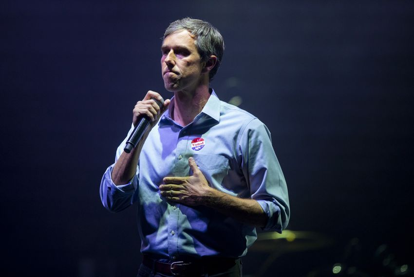 Beto O'Rourke speaks to his supporters after losing to Ted Cruz in the 2018 midterm elections, in El Paso on Tuesday, Nov. 6, 2018.