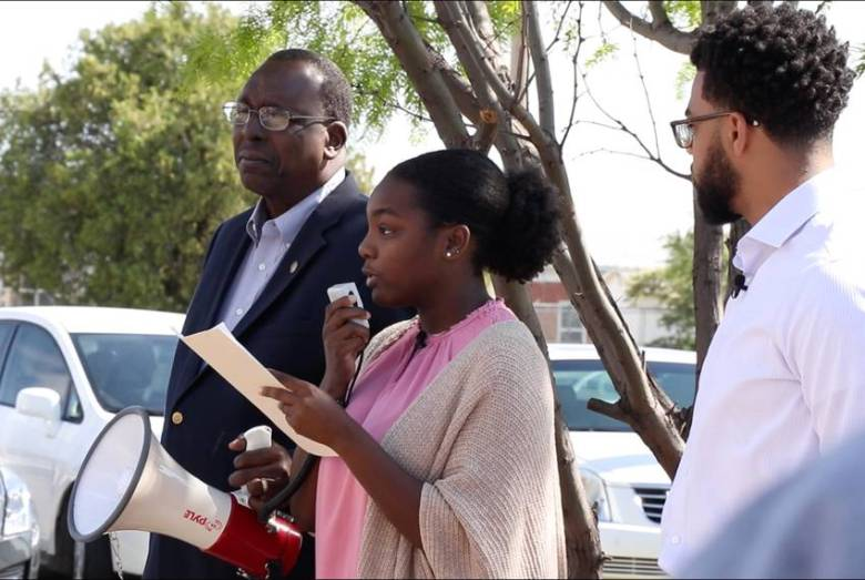 McMurry student Bria Kimble speaks at a memorial ceremony in honor of the 1922 lynching victim in Abilene on April 27, 2019.