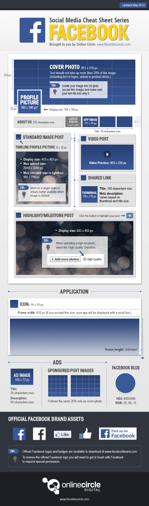 Online Circle Digital | Facebook Sizes and Dimensions Cheat Sheet 2013
