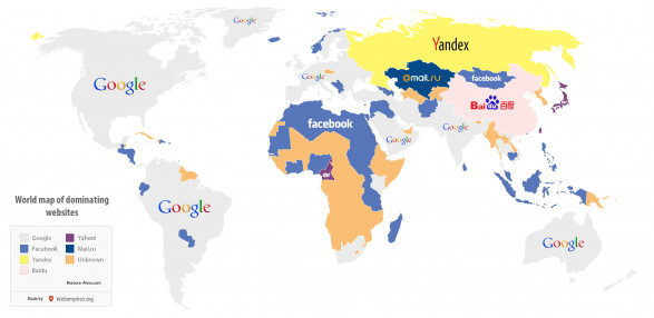 World map of dominating websites