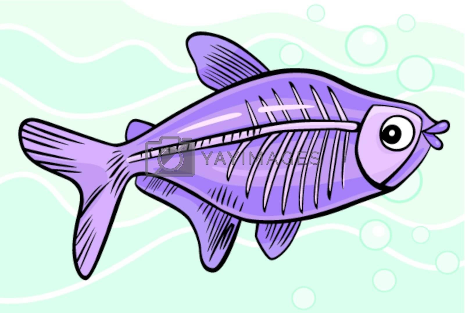 Cartoon X Ray Fish Royalty Free Stock Image