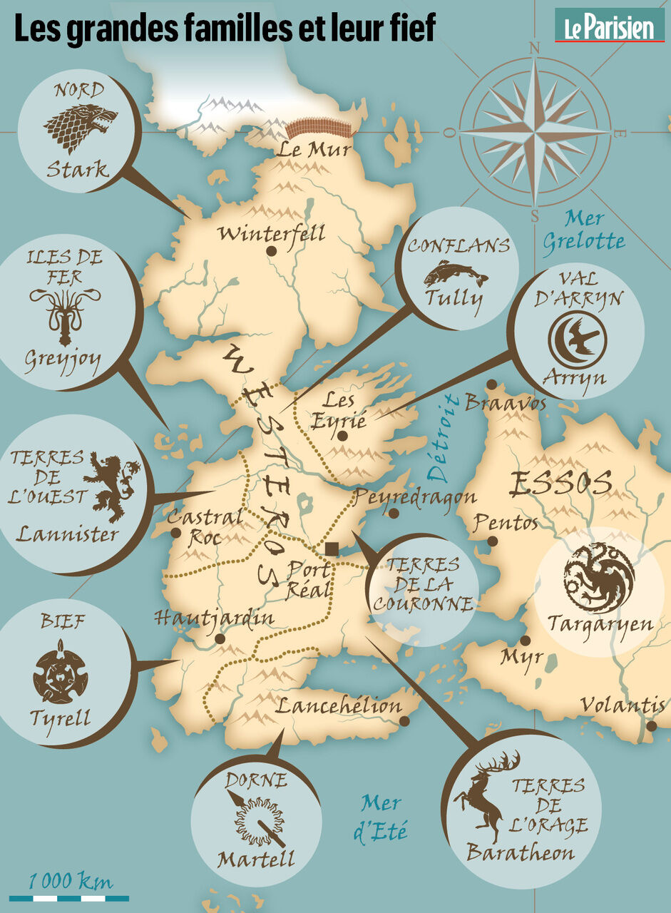 Carte Game Of Thrones 7 Royaumes : carte, thrones, royaumes, Thrones», Petit, Cours, Géographie, Retrouver, Westeros, Parisien