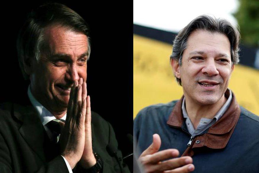 montagem bolsonaro haddad - Bolsonaro sobe para 33% e Haddad salta para 16% em nova pesquisa BTG/FSB