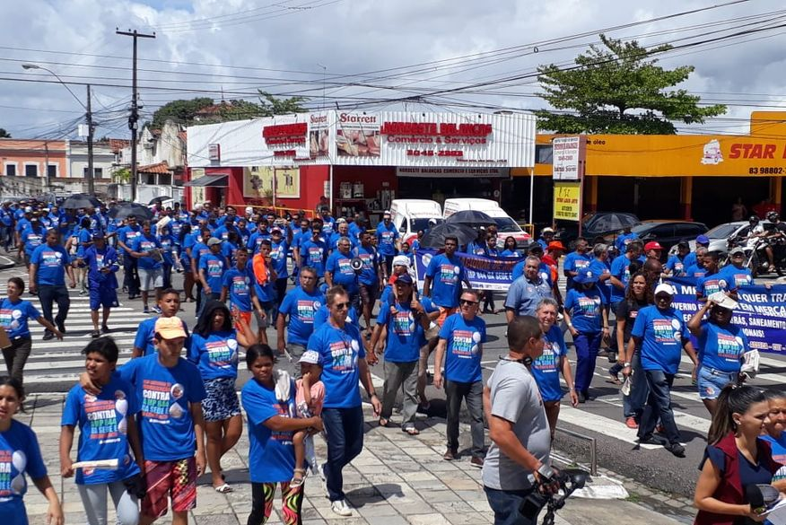 protesto cagepa - Funcionários da Cagepa protestam contra privatização da empresa