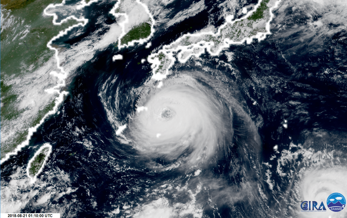 hight resolution of typhoon soulik and its enormous eye are closing in on japan s ryukyu islands