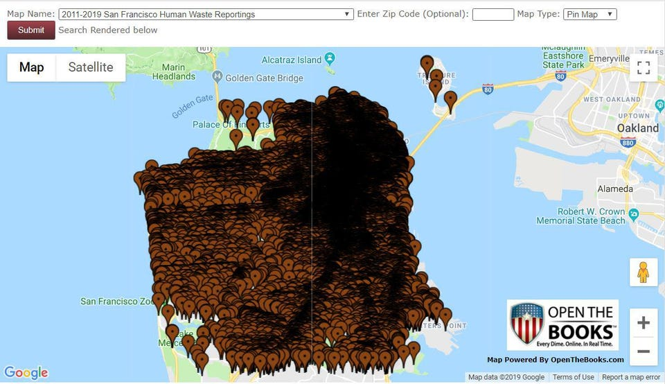 San Francisco's human waste challenge 2011-2019: an interactive map with 118,352 cases.