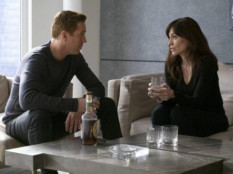 Damian Lewis and Maggie Siff in Billions.