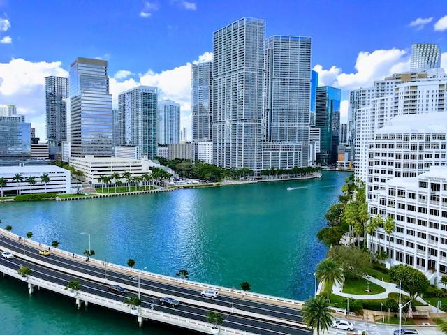 View of the Miami skyline from one of the guest rooms at the Mandarin Oriental