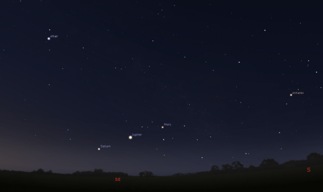 On March 04, 2020, the planets Saturn, Jupiter, and Mars all appeared in an equally spaced line.... [+] Throughout the month, both Saturn and Jupiter have experienced relative apparent motion in our skies, but Mars has moved the fastest from west to east, passing between Jupiter and Saturn and eventually moving even eastward of Saturn.